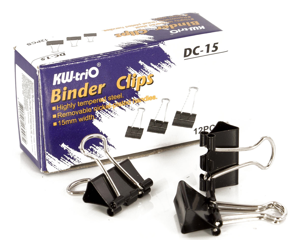 KW-Тrio Зажим для бумаг цвет черный 15 мм 12 штFS-54100Зажим для бумаг KW-Тrio предназначен для скрепления бумажных носителей. Зажим выполнен из металла.В упаковке 12 зажимов черного цвета. Они надежно и легко скрепляют, не деформируют бумагу, не оставляют на ней следов.