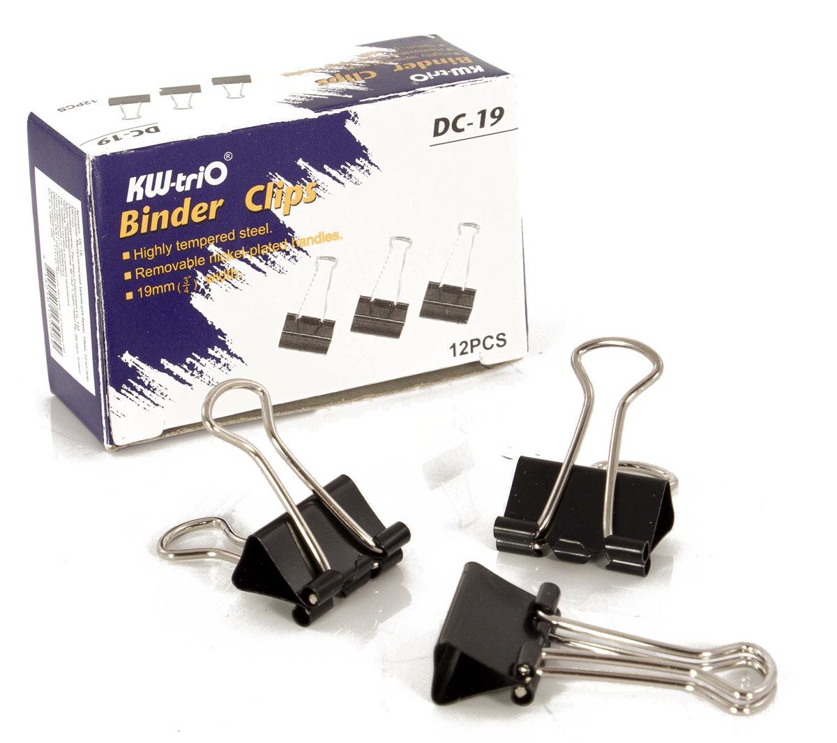 KW-Тrio Зажим для бумаг цвет черный 19 мм 12 штFS-54100Зажим для бумаг KW-Тrio предназначен для скрепления бумажных носителей. Зажим выполнен из металла.В упаковке 12 зажимов черного цвета. Они надежно и легко скрепляют, не деформируют бумагу, не оставляют на ней следов.