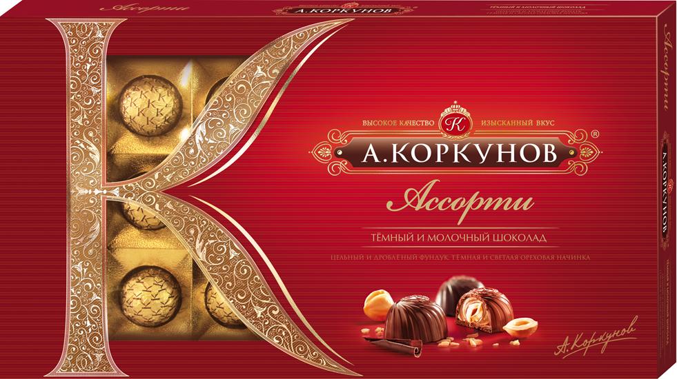 Коркунов Конфеты Ассорти Темный и молочный шоколад, 190 г5060295130016При производстве конфет Коркунов используются сертифицированные сорта какао-бобов, произрастающие в Западной Африке. Ореховая начинка конфет – это настоящее, классическое пралине - сочетание сахара и орехов. Также для производства конфет Коркунов закупаются только отборные орехи, а каждый из поставщиков проходит строгую проверку качества. Элегантная упаковка подчеркивает вкус изысканных шоколадных конфет. Все это делает конфеты Коркунов одним из самых желанных подарков на любой праздник.Состав набора:Конфеты из темного шоколада с цельным фундуком и темной ореховой начинкойКонфеты из молочного шоколада с цельным фундуком и светлой ореховой начинкойКонфеты из темного шоколада с дробленным фундуком и светлой ореховой начинкойУважаемые клиенты! Обращаем ваше внимание, что полный перечень состава продукта представлен на дополнительном изображении.Упаковка может иметь несколько видов дизайна. Поставка осуществляется в зависимости от наличия на складе.