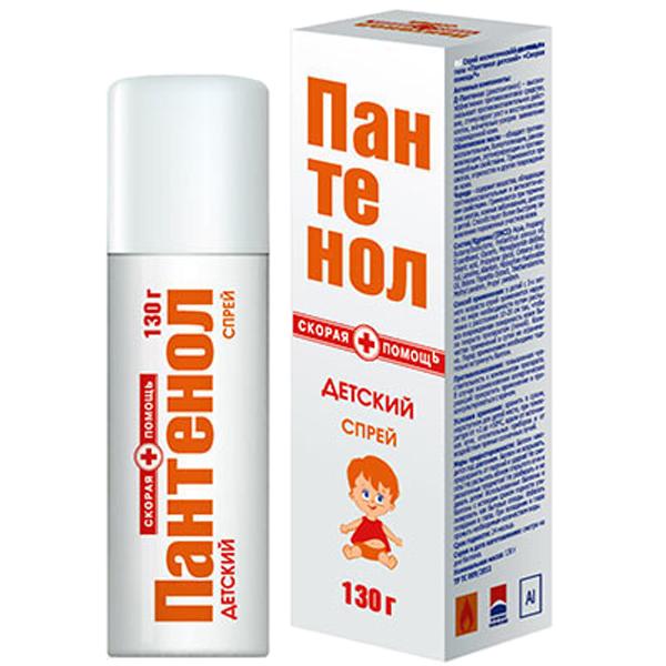 Скорая помощь Пантенол Детский спрей, 130 г55-12199Действие и эффективность спрея «Пантенол с Алоэ Вера» обусловлены сочетанием натуральных активных компонентов:Д-Пантенол (декспантенол) – высокоэффективное противоожоговое средство, провитамин пантотеновой кислоты (витамин В5). Он является составной частью мембран всех здоровых клеток. Обеспечивает клетки энергией и питательными веществами, способствует выработке антител, оказывает противовоспалительное действие, стимулирует рост и восстановление клеток. Благодаря низкой молекулярной массе, гидрофильности и низкой полярности, проникает во все слои кожи, стимулирует регенерацию тканей, значительно ускоряя заживление поврежденной кожи. Нормализует клеточный метаболизм, активизирует синтез коллагена и повышает прочность коллагеновых волокон, стимулирует рост здоровых клеток.Алоэ Вера - обладает уникальными регенерирующими свойствами за счёт содержания в нём 18 из 22 необходимых аминокислот – строительный материал для клетки. Алоэ вера обладает успокаивающим действием для загорелой кожи, благодаря содержанию витаминов Е, С, группы В и бета-каротина.Аллантоин – оказывает двойное воздействие на кожу: смягчает роговой слой и ускоряет регенерацию тканей.Ланолин – натуральный воск животного происхождения, по составу близкий к кожному жиру человека. Увлажняет, смягчает и питает кожу, защищает от неблагоприятных внешних воздействий, значительно ускоряет регенерацию клеток.