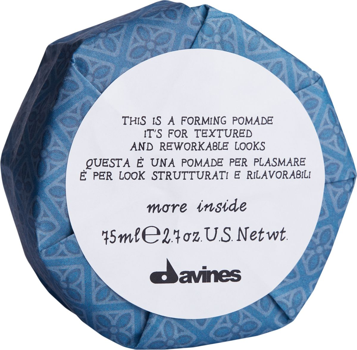 Davines More Inside Forming Pomade Моделирующая помада для текстурных и пластичных образов, 75 мл87057Воск-блеск Davines предназначен для придания волосам сияния. Легкая формула помогает быстро создать текстуру, подчеркнув блеск волосам. Укладка сохраняет пластичность, ее можно видоизменять при помощи расчески. Средство обеспечивает легкую степень фиксации. Объем: 75 мл