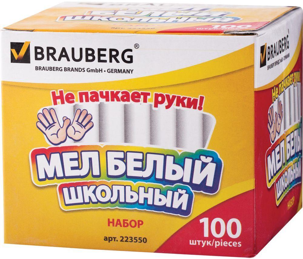 Brauberg Мелки цвет белый 100 шт223550Высококачественный школьный мел Brauberg изготовлен из экологически чистых материалов.В набор входят 100 белых мелков круглой формы.Не пачкают руки благодаря формуле антипыль.