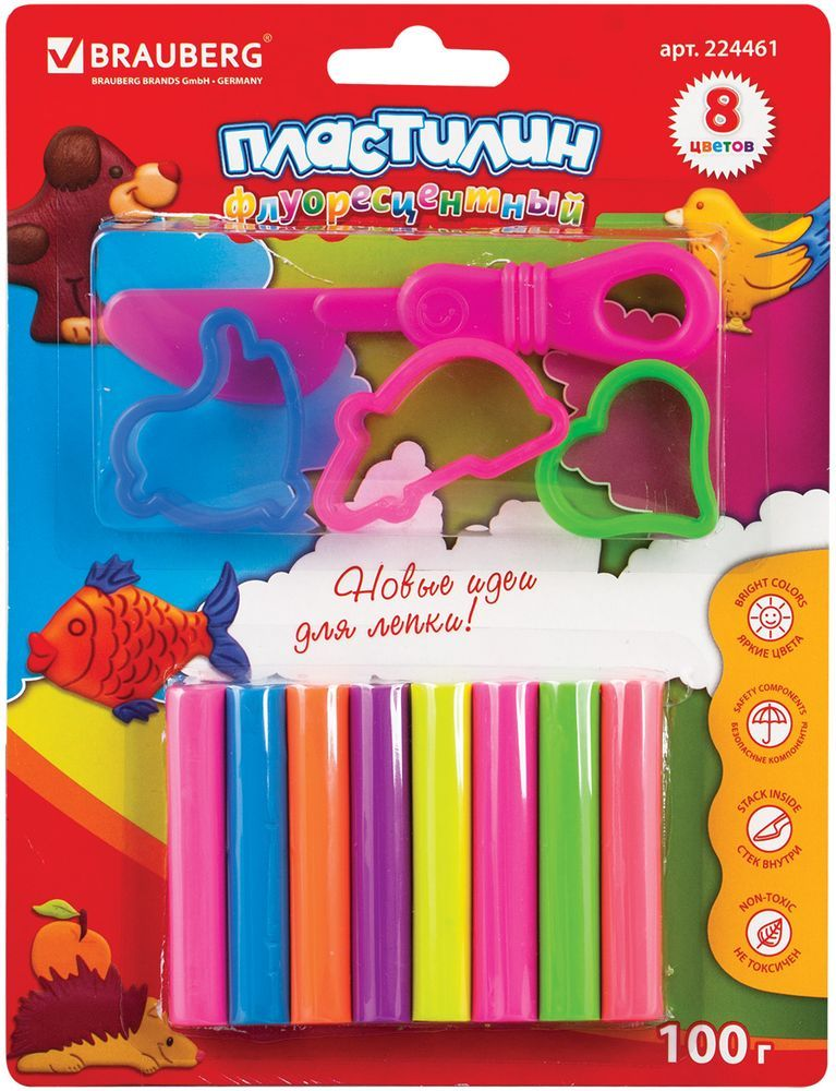 Brauberg Пластилин неоновый 8 цветов + 3 формочки224461Набор Brauberg состоит из пластилина высокого качества яркого неонового цвета и формочек. Может использоваться в качестве игрушки. Способствует развитию мелкой моторики, творческих способностей, получению положительных эмоций. Пластилин очень мягок и пластичен.