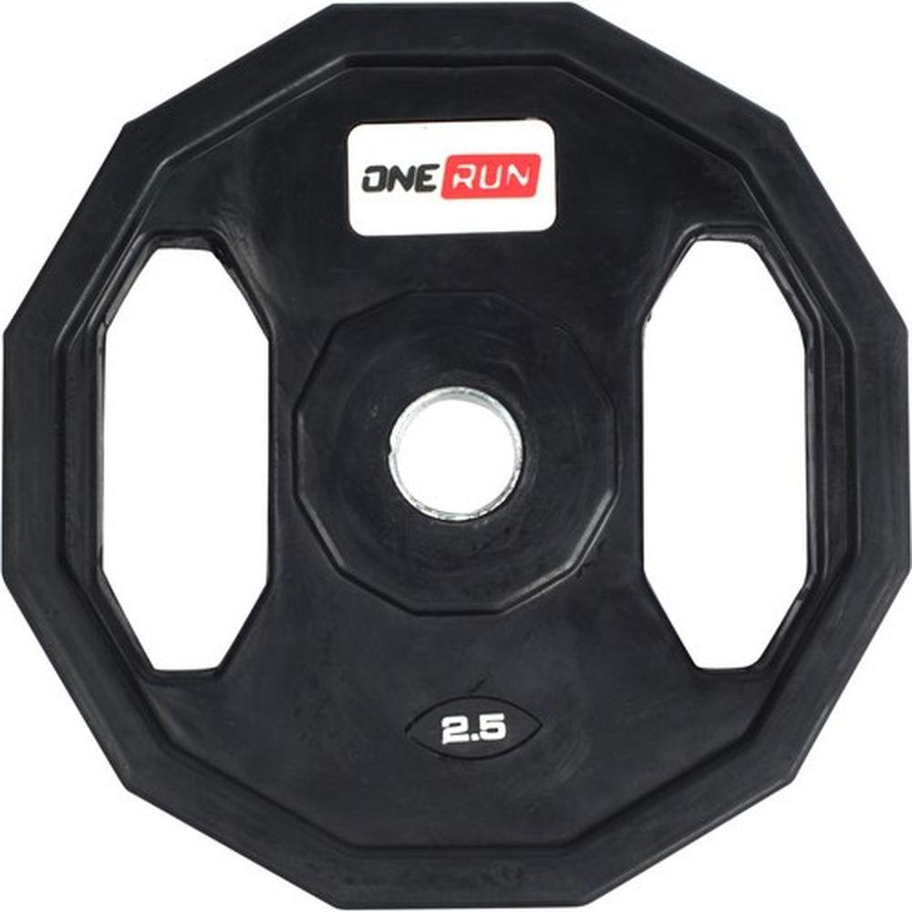 Диск обрезиненный OneRun, с хватом, диаметр 2,6 см, вес 2,5 кг471-8356Диск OneRun имеет специальные хваты, что обеспечит удобство при переноске и установке, а также позволит тренироваться с ним как с отдельным снарядом. Диск имеет стальную посадочную втулку, диаметром 26 мм.