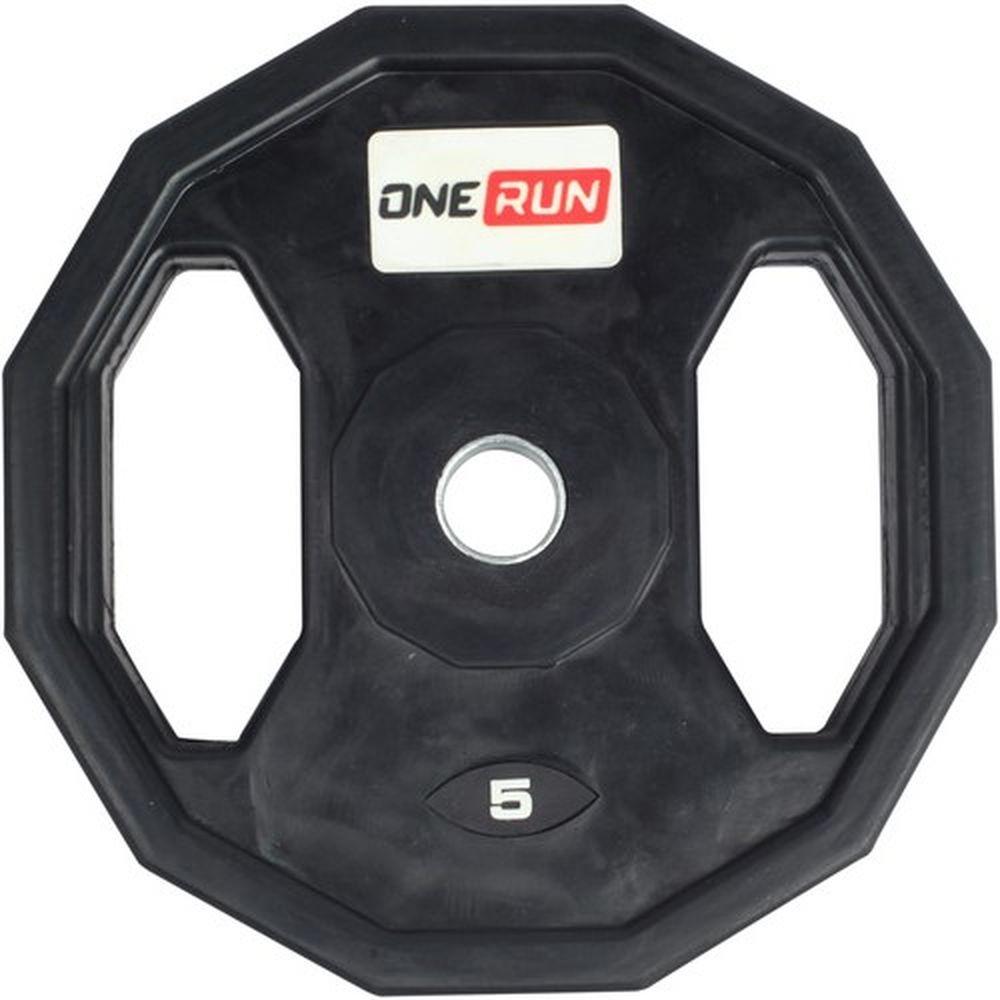 Диск обрезиненный OneRun, с хватом, диаметр 2,6 см, 5 кг7292Диск OneRun иеммет специальные хваты, что обеспечит удобство при переноске и установке дисков, а также позволит тренироваться с диском как с отдельным снарядом. Диск имеет стальную посадочную втулку диаметром 26 мм.