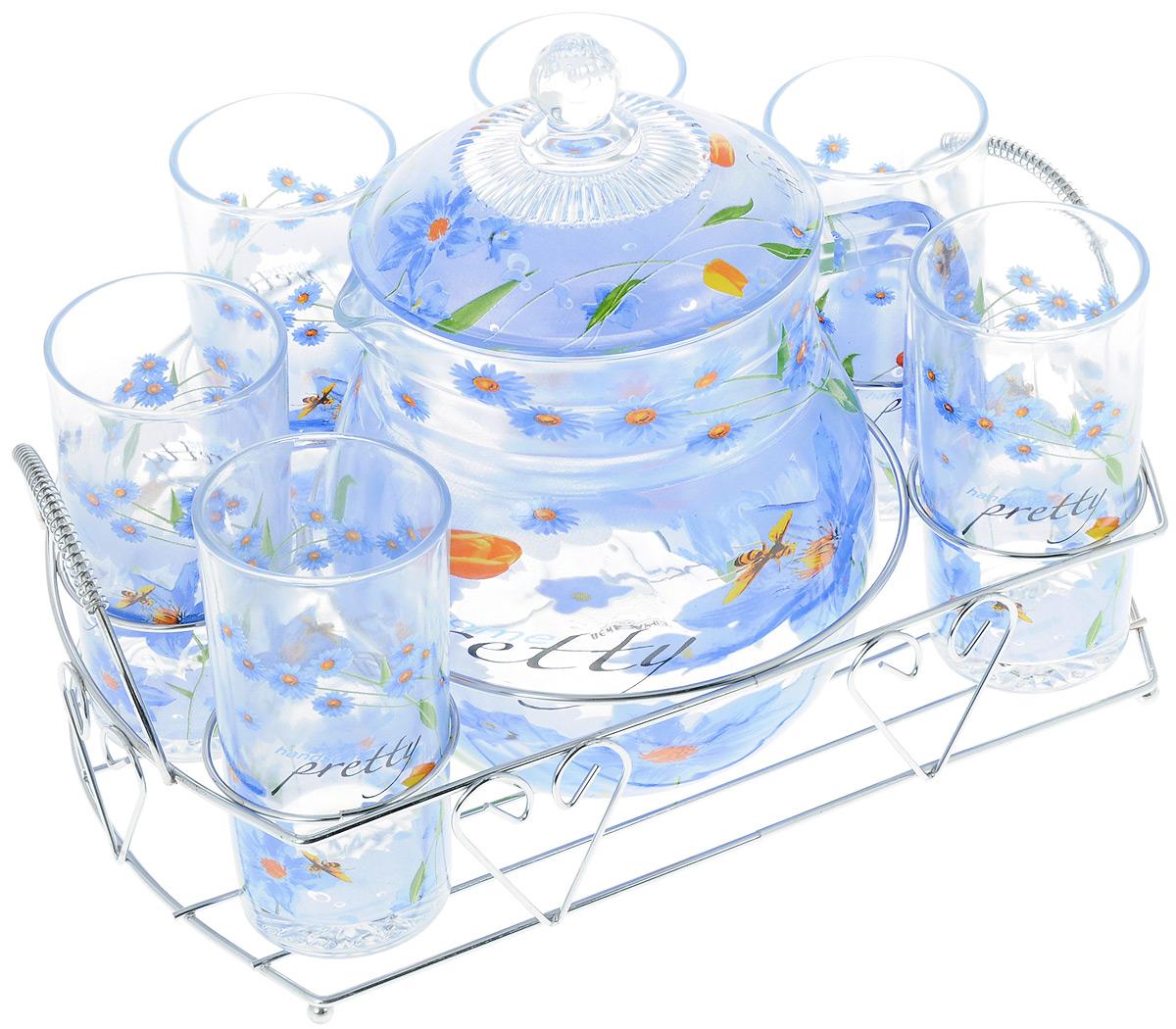Набор для воды Bekker, на подставке, 8 предметовVT-1520(SR)Набор для воды Bekker, выполненный из высококачественного стекла, состоит из шести высоких стаканов и графина с крышкой. Набор выполнен в элегантном дизайне с рисунком в виде цветов. Предметы набора располагаются на изящной металлической подставке с двумя ручками. Набор для воды Bekker украсит сервировку стола, а также станет отличным подарком на любой праздник.Можно мыть в посудомоечной машине.Высота стенки графина: 14 см. Диаметр графина по верхнему краю: 11,5 см. Объем графина: 1,6 л. Диаметр стакана по верхнему краю: 6 см. Высота стакана: 12 см. Объем стакана: 252 мл. Размер подставки (Д х Ш х В): 30 х 23,5 х 11 см.