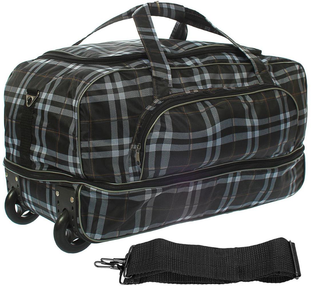 Сумка дорожная AMeN, цвет: серый. 13309041330904Прочная дорожная сумка AMeN прекрасно подойдет как для путешествия, так и для деловых поездок. Она позволяет взять с собой все необходимое: от нижнего белья до брюк, юбок и пиджаков. Сумку можно транспортировать за ручки, на плече, а лучше катить с комфортом при помощи выдвижной телескопической ручки и двух колес.