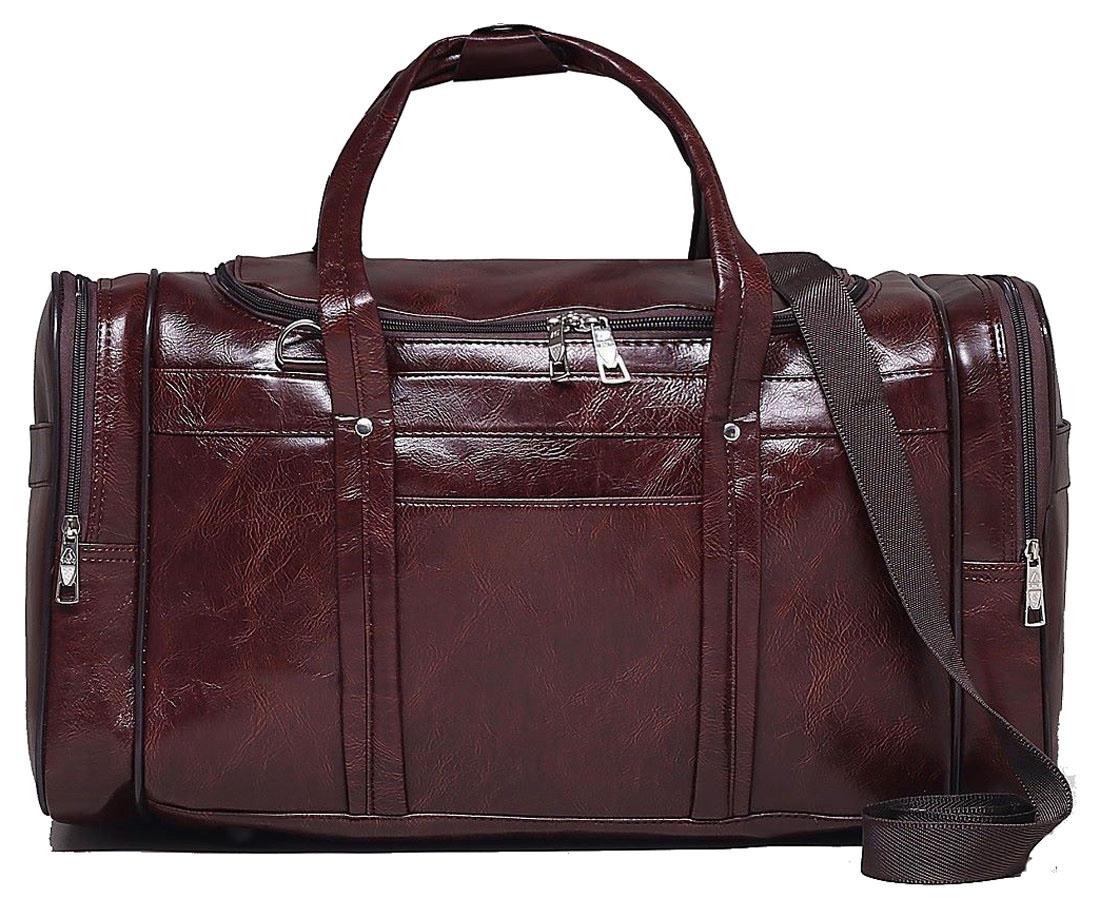 Сумка дорожная Sima-land, цвет: коричневый, 50 х 23 х 27 см. 1847804332515-2800Дорожная сумка Sima-land будет незаменима для путешествий, поездок за город или занятий спортом. Имеет одно отделение на молнии и 5 наружных карманов. Практичный аксессуар выполнен из экокожи.Модель оснащена широкими ручками и длинным съёмным ремнём для комфортной переноски.Это вещь достойного качества, которая может стать прекрасным подарком по любому поводу.