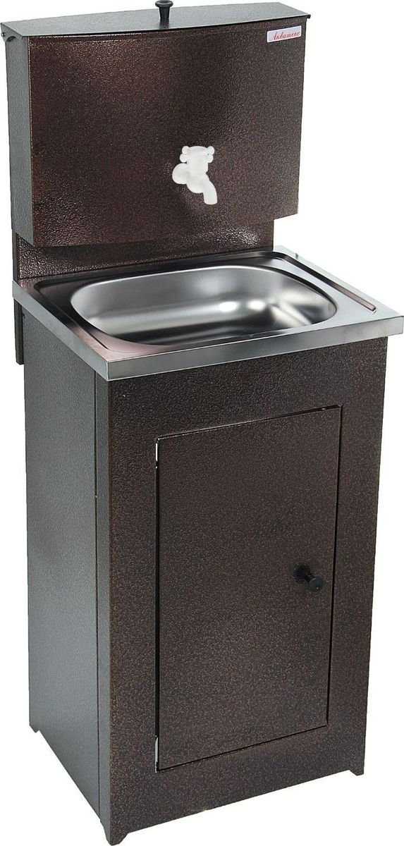 Умывальник Акватекс, цвет: медный, 17 л. 1324756GC204/30Умывальник «Акватекс» — отличное приобретение для дачи, гаража, мастерской или других мест без центрального водоснабжения. Металлическая конструкция медного цвета проста в эксплуатации и уходе, обладает высокой износоустойчивостью. Раковина выполнена из нержавеющей стали, а на бак для воды нанесено невосприимчивое к коррозии запатентованное покрытие.Данная модель отлично подходит как для гигиенических процедур, так и для хозяйственных нужд.Преимущества:пластиковый шаровой кранпродукция сертифицированаувеличенная высота тумбыусиленная стойка бакатумба на ножках (циркуляция воздуха под тумбой предохраняет ЛКП от коррозии)отсутствие петель (причины возникновения ржавчины)увеличенная дверца. Характеристики Объём бака: 20 л.Материал раковины: нержавеющая сталь.Размеры: 150 ? 55 ? 45 см.Масса: 12 кг.Гарантия: 12 месяцев.
