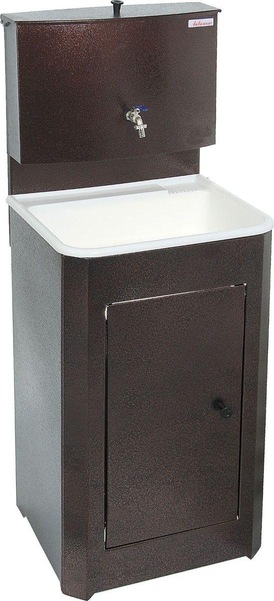Умывальник Акватекс, цвет: медный, 20 л. 132475809840-20.000.00Умывальник «Акватекс» — отличное приобретение для дачи, гаража, мастерской или других мест без центрального водоснабжения. Металлическая конструкция медного цвета проста в эксплуатации и уходе, обладает высокой износоустойчивостью. Раковина выполнена из пластика, а на бак для воды нанесено невосприимчивое к коррозии запатентованное покрытие.Данная модель отлично подходит как для гигиенических процедур, так и для хозяйственных нужд. Преимущества:металлический шаровой кранпродукция сертифицированаувеличенная высота тумбыусиленная стойка бакатумба на ножках (циркуляция воздуха под тумбой предохраняет ЛКП от коррозии)отсутствие петель (причины возникновения ржавчины)увеличенная дверца. Характеристики Объём бака: 20 л.Материал раковины: пластик.Размеры: 150 ? 55 ? 45 см.Масса: 12 кг.Гарантия: 12 месяцев.