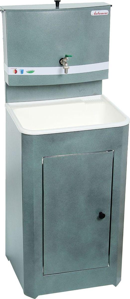 Умывальник Акватекс, цвет: серый, 20 л. 1324762C0038550Умывальник Акватекс - отличное приобретение для дачи, гаража, мастерской или других мест без центрального водоснабжения. Металлическая конструкция серого цвета проста в эксплуатации и уходе, обладает высокой износоустойчивостью. Раковина выполнена из пластика, а на бак для воды нанесено невосприимчивое к коррозии запатентованное покрытие. Данная модель отлично подходит как для гигиенических процедур, так и для хозяйственных нужд.Преимущества: - металлический шаровой кран; - продукция сертифицирована; - увеличенная высота тумбы; - усиленная стойка бака; - тумба на ножках (циркуляция воздуха под тумбой предохраняет ЛКП от коррозии); - отсутствие петель (причины возникновения ржавчины); - увеличенная дверца. Характеристики. Объём бака: 20 л. Материал раковины: пластик. Размеры: 150 х 55 х 45 см. Масса: 12 кг.