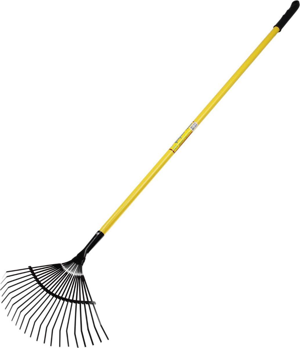 Грабли веерные Усадьба-люкс, с черенком, цвет: желтый, длина 160 см531-402Веерные грабли предназначены для сезонного сбора опавших листьев, скошенной травы, мелкого садового мусора и сорняков. Благодаря форме веера и большому количеству плоских пластинчатых пружинящих зубцов вы быстрее справитесь с уборкой вашего сада.Металлическое приспособление долговечное, простое и универсальное в использовании. Применяется как для уборки земли, так и асфальтовых и бетонных покрытий. Черенок входит в комплект. Внимание!Изделие не предназначено для рыхления земли.