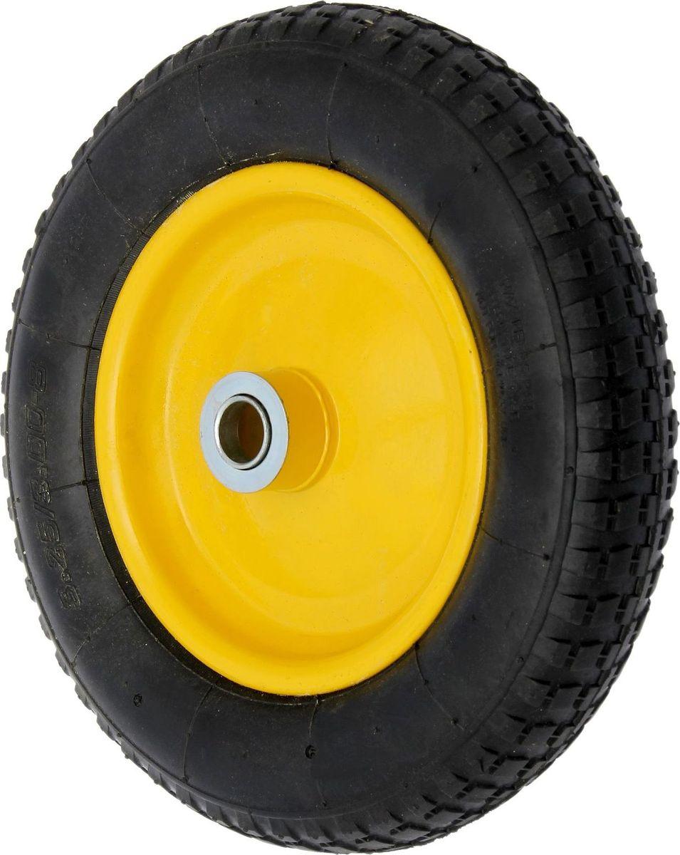 Колесо запасное для тачки, с подшипником, диаметр колеса 35 см1446806Колесо является запасным элементом для тачки. Колесо имеет резиновую шину и яркий крашенный диск. Шариковый металлический подшипник обеспечивает прочность и надежность конструкции. Диаметр втулки: 16 мм. Диаметр колеса: 350 мм. Диаметр диска: 220 мм. Ширина протектора: 80 мм.