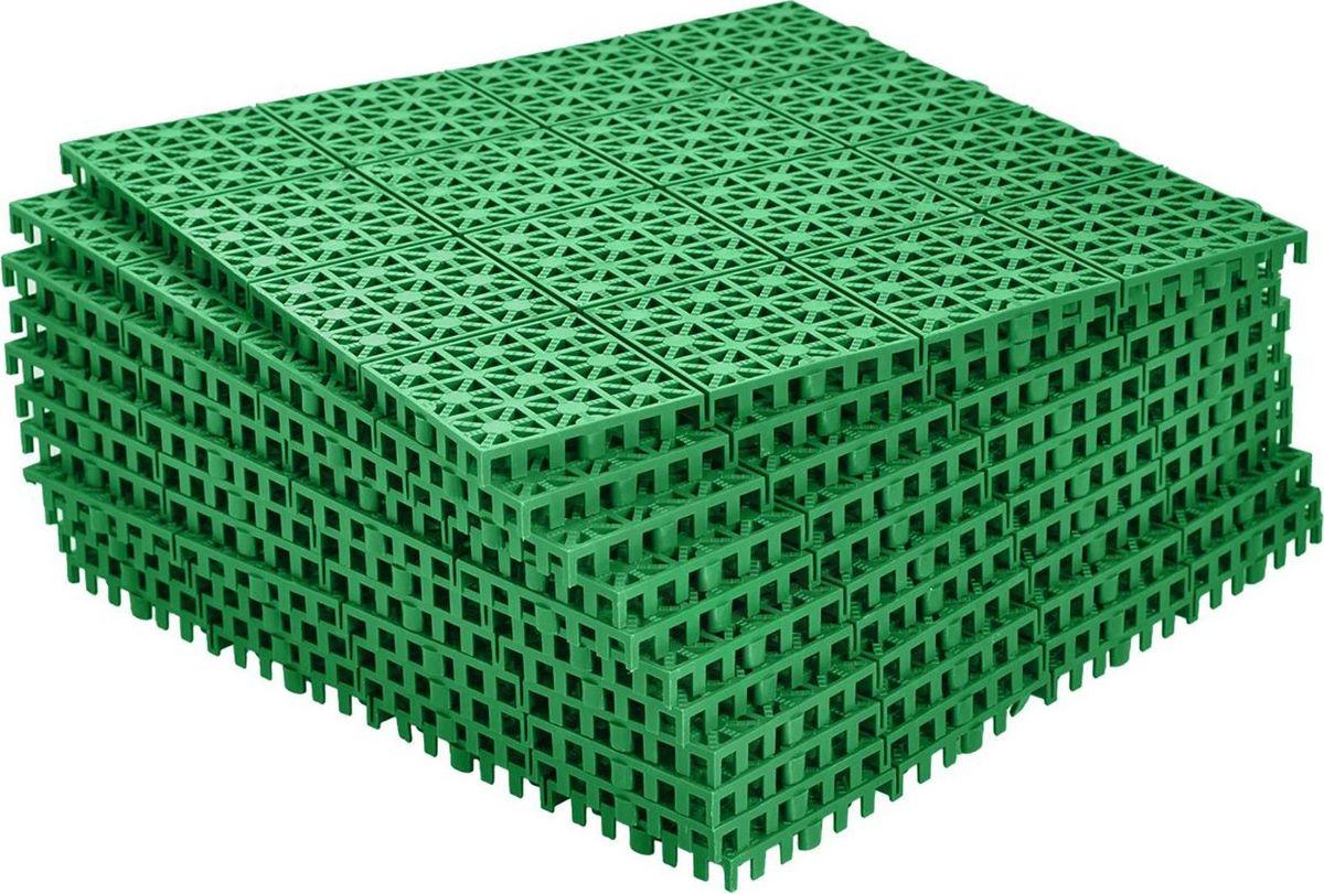 Настил садовый, модульный, цвет: зеленый, 33 х 33 х 0,9 см