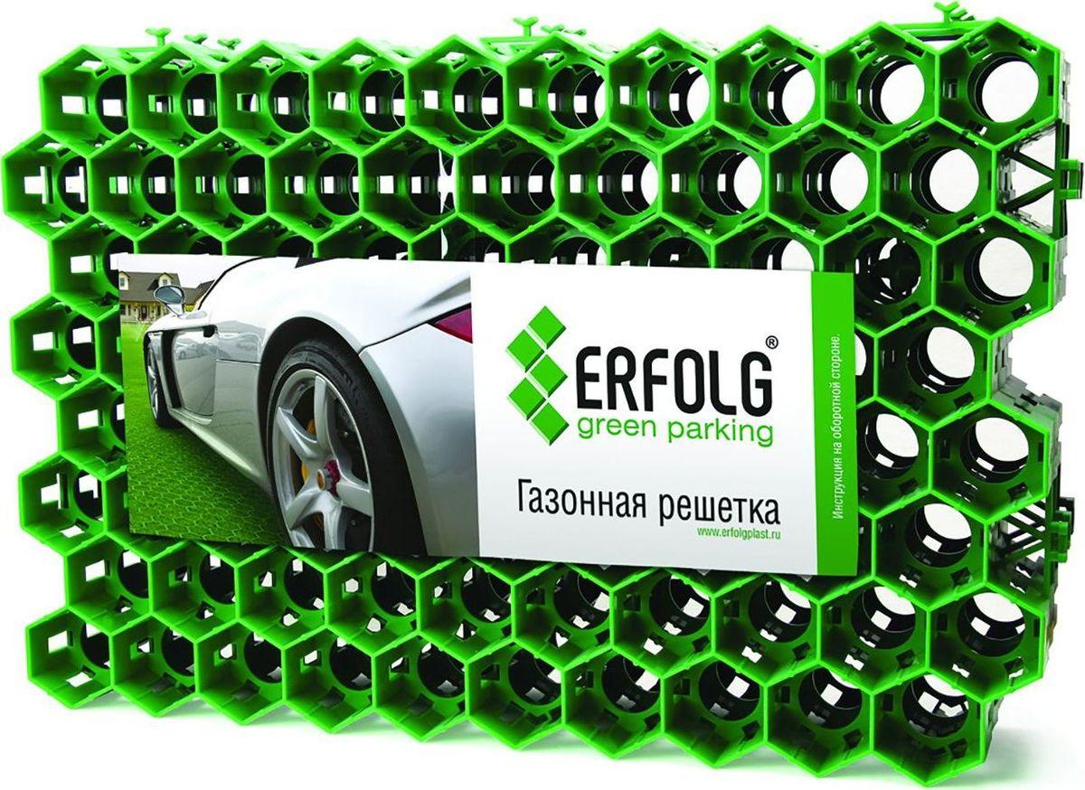 Решетка газонная ERFOLG Green Parking, цвет: зеленый, 40 х 60 см09840-20.000.00ERFOLG Green Parking — это газонная решётка, имеющая структуру в виде пчелиных сот.Пластиковые модули такой решётки сцепляются друг с другом замками и образуют универсальную сборно-разборную водопроницаемую конструкцию.Шестигранная ячеистая структура ERFOLG Green Parking надёжно и эффективно защищает корни газонной травы от любых повреждений и препятствует образованию малейших неровностей на участке.Решётка может использоваться в виде экопарковки — это оптимальный вариант для тех случаев, когда применение асфальта и бетона нежелательно. Она выдерживает нагрузку порядка 200 тонн на 1 м?.Уход за газонной решёткой ERFOLG Green Parking осуществляется с помощью газонокосилки или триммера. Для того чтобы очистить решётку от скопившейся грязи и освежить её, требуется периодически поливать изделие.ХарактеристикиРазмер модуля: 400 ? 600 ? 40 мм.Материал: полиэтилен.Температурный диапазон: от ?50 до +60 °С.Использование: >подъездные пути для легковых автомобилейобщественные и частные автомобильные стоянки (экопарковки) в различных местах расположенияукрепление склонов в целях предупреждения размывания и эрозии почвы.