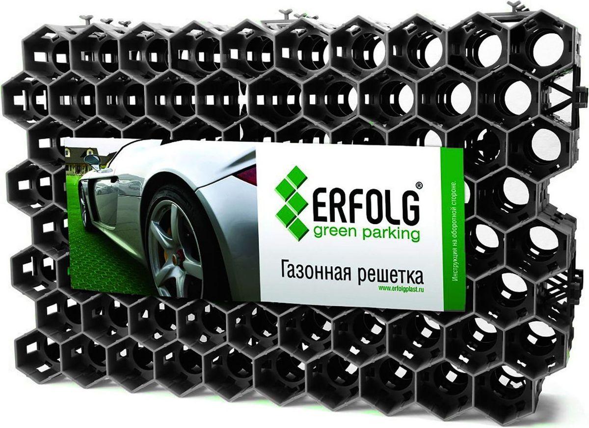 Решетка газонная ERFOLG Green Parking, цвет: черный, 40 х 60 см09840-20.000.00ERFOLG Green Parking — это газонная решётка, имеющая структуру в виде пчелиных сот.Пластиковые модули такой решётки сцепляются друг с другом замками и образуют универсальную сборно-разборную водопроницаемую конструкцию.Шестигранная ячеистая структура ERFOLG Green Parking надёжно и эффективно защищает корни газонной травы от любых повреждений и препятствует образованию малейших неровностей на участке.Решётка может использоваться в виде экопарковки — это оптимальный вариант для тех случаев, когда применение асфальта и бетона нежелательно. Она выдерживает нагрузку порядка 200 тонн на 1 м?.Уход за газонной решёткой ERFOLG Green Parking осуществляется с помощью газонокосилки или триммера. Для того чтобы очистить решётку от скопившейся грязи и освежить её, требуется периодически поливать изделие.ХарактеристикиРазмер модуля: 400 ? 600 ? 40 мм.Материал: полиэтилен.Температурный диапазон: от ?50 до +60 °С.Использование: >подъездные пути для легковых автомобилейобщественные и частные автомобильные стоянки (экопарковки) в различных местах расположенияукрепление склонов в целях предупреждения размывания и эрозии почвы.
