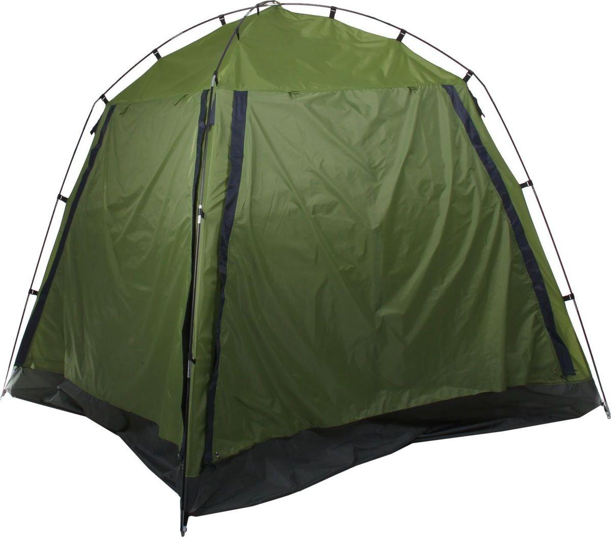 Шатер, со стенками, цвет: зеленый, 220 х 220 х 180 см1734829Шатёр со стенками, размер 220 х 220 х 180 см, цвет зелёный позволит укрыться от солнца в жаркий день и защитит от надоедливых насекомых. Внутри палатки вы сможете расположиться для ночёвки в тёплую погоду. С двух противоположных сторон сделаны входы с москитной сеткой, закрывающиеся на молнию. Обе боковые стенки состоят из внешней откидывающейся части и оборудованы москитной сеткой, благодаря которой внутрь будет поступать свежий воздух. ХарактеристикиТент: таффета 210Т, влагозащита 3000 мм. Пол: оксфорд 210Д, влагозащита 3000 мм. Каркас: сталь. Толщина кольев: 3 мм. Толщина трубок: 10 мм. Толщина металлической оплётки: 1,5 мм. Вместимость: 3 человека.