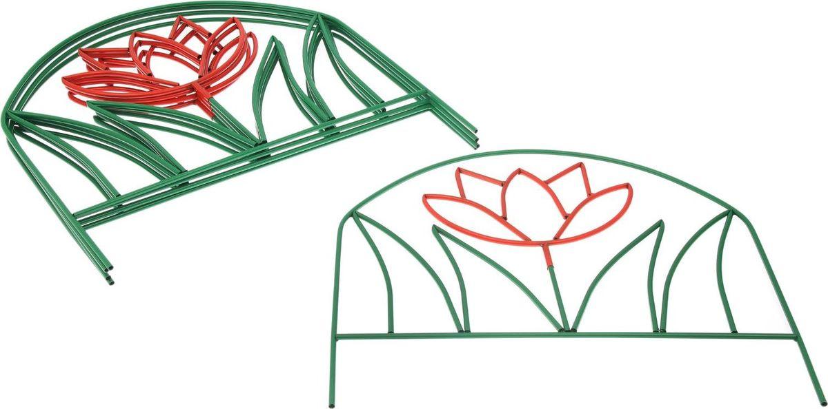 Ограждение садовое декоративное Лотос, 5 секций, цвет: зеленый, 70 х 370 смC0038550Ограждение декоративное Лотос имеет 5 секций, с заглушками защитит ваши цветники от непоседливых детей и любопытных животных.Металлическое изделие имеет ряд преимуществ:Длительный срок службы. Забор защищен от коррозии специальным покрытием. Ограждению не страшна непогода. Надежность.Благодаря своей прочности выдерживает механические нагрузки. Яркий, насыщенный цвет не потускнеет со временем и не выгорит на солнце. Простой уход.Характеристики:Всего секций: 5 шт. Размеры одной секции: 70 х 74 см. Высота без ножки: 53 см. Общая длина: 370 см.