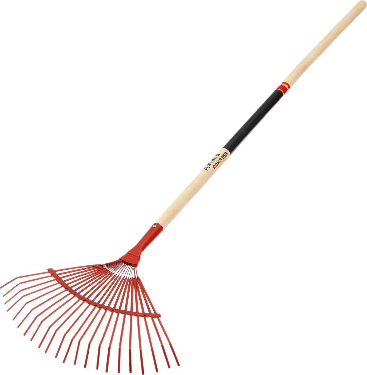 Грабли веерные, длина 147 см531-402Веерные грабли предназначены для сезонного сбора опавших листьев, скошенной травы, мелкого садового мусора и сорняков. Благодаря форме веера и большому количеству плоских пластинчатых пружинящих зубцов вы быстрее справитесь с уборкой вашего сада.Металлическое приспособление долговечное, простое и универсальное в использовании. Применяется как для уборки земли, так и асфальтовых и бетонных покрытий. Черенок входит в комплект. Внимание!Изделие не предназначено для рыхления земли.