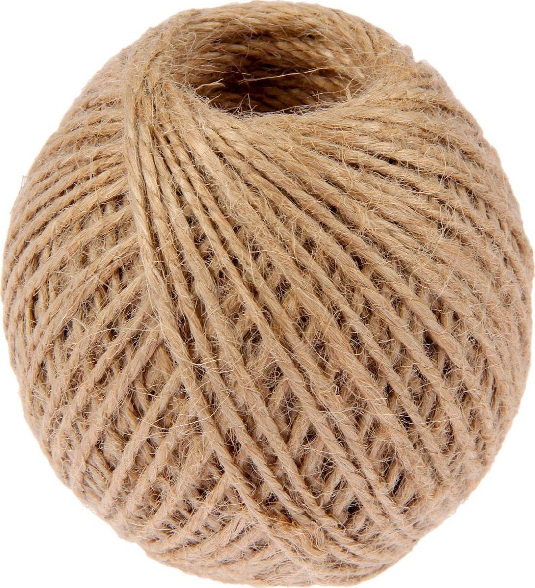 Шпагат джутовый, скрученный, цвет: натуральный, 1,5 мм, 100 м