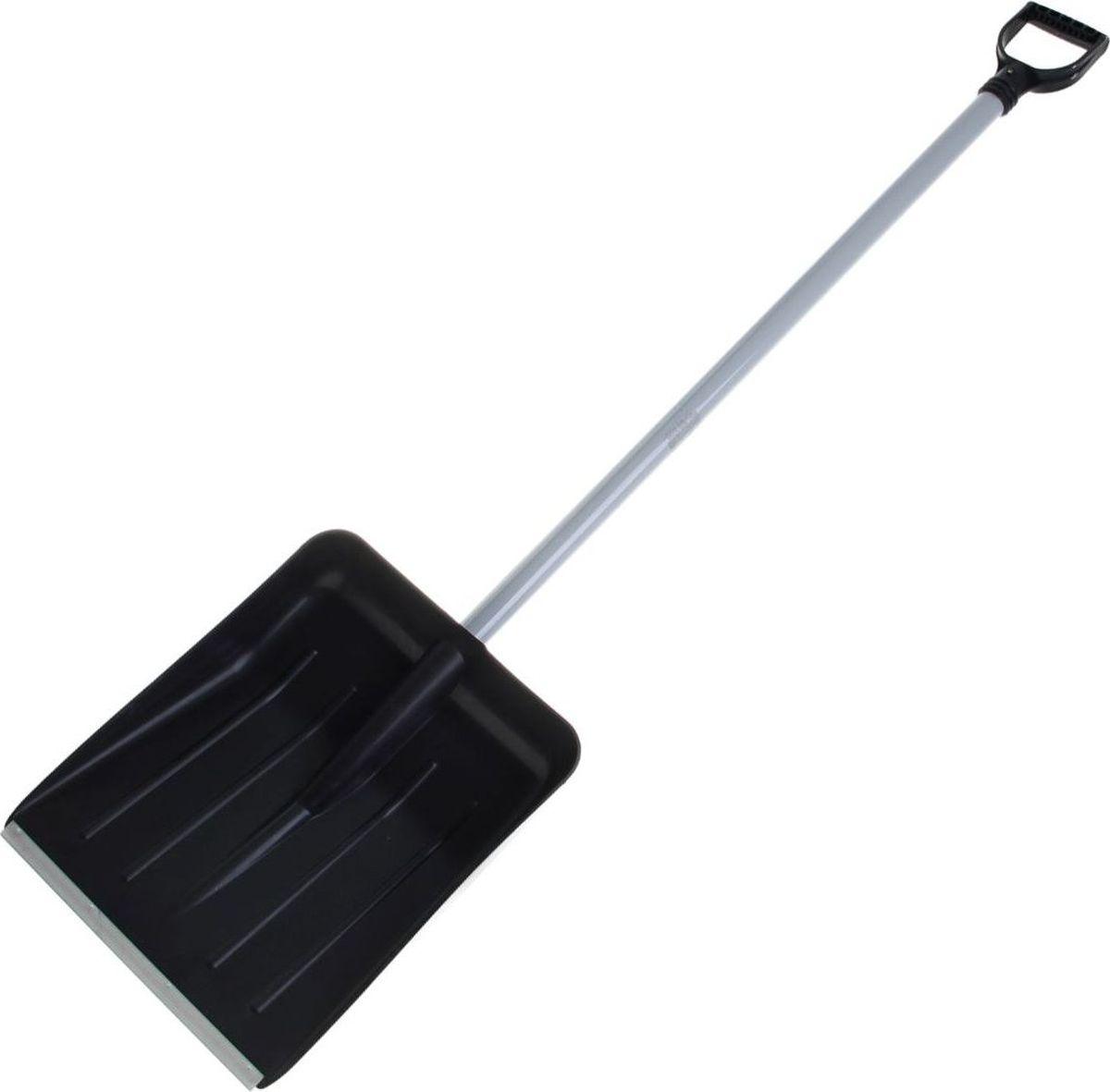 Лопата для снега Альтернатива, с планкой, черенком и ручкой, длина 143 см953223Лопата предназначена для уборки снега. С помощью лопаты вы легко расчистите дорогу. Вы также можете использовать её для комплектации зерновых инструментов. Рабочая часть инструмента выполнена из качественного пластика: она лёгкая и при этом прочная. Специальная металлическая планка увеличивает срок службы изделия.Материал: пластик, метал.