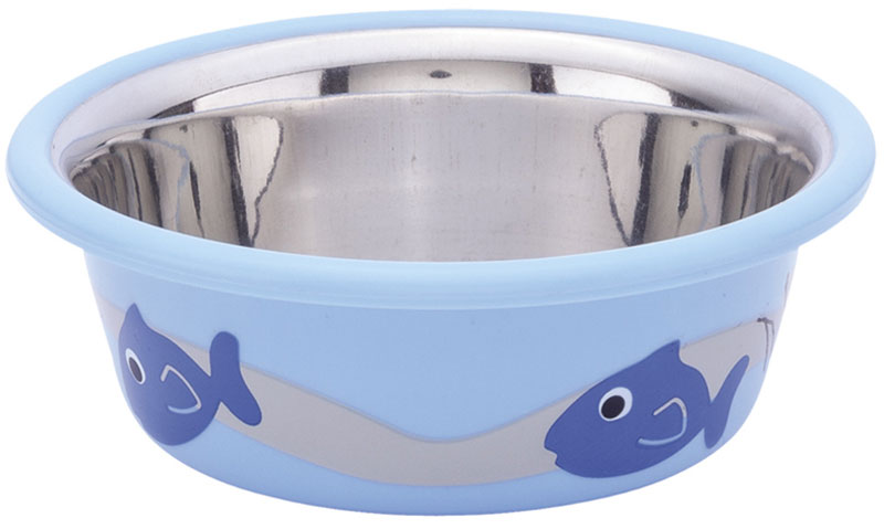 Миска для животных Nobby, цвет: голубой, 250 мл73366Миска для животных Nobby - это функциональный аксессуар для вашего питомца. Изделие выполнено из металла и пластика. Миска оформлена оригинальным принтом. Имеет антискользящий резиновый слой в основании миски. Она порадует удобством использования как самих животных, так и их хозяев.