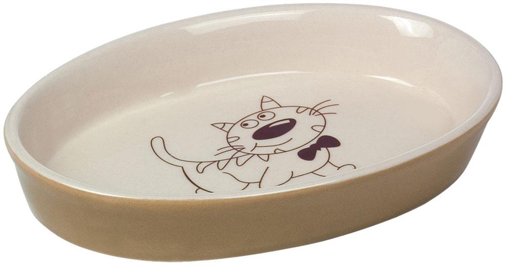 Миска для кошек Nobby, цвет: коричневый, 17 х 11 х 2,5 см12171996Миска для кошек керамическая с рисунком.