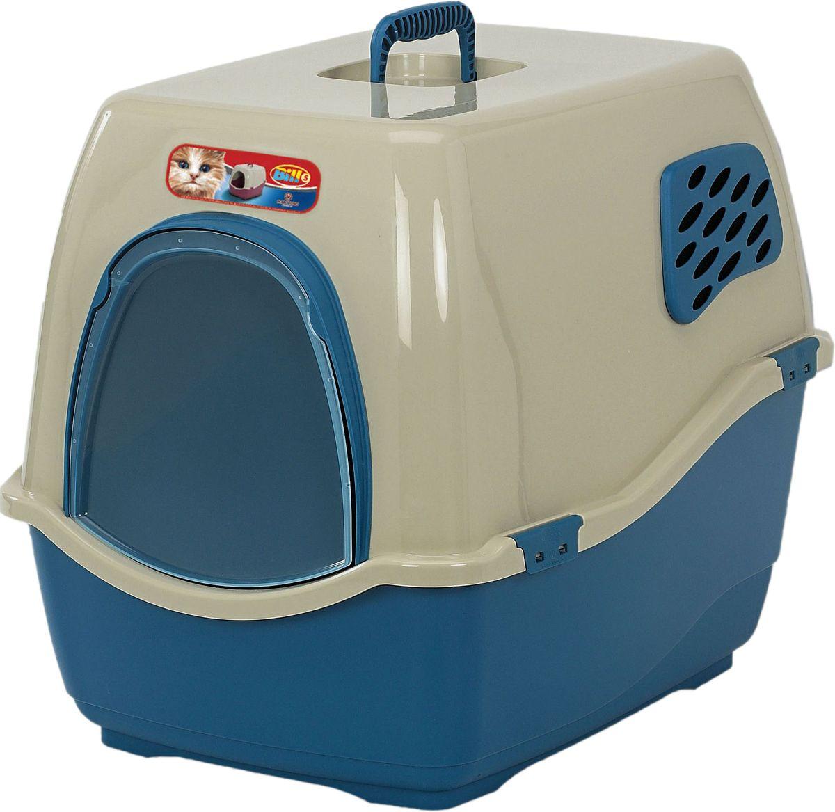 Био-туалет Marchioro Bill 1F, цвет: синий, бежевый, 50 х 40 х 42 см0120710Marchioro био-туалет BILL 1F. Закрытый туалет с угольным фильтром препятствует распространению неприятных запахов.Подвижная передняя створка позволяет животному самостоятельно пользоваться туалетом.В комплект также входит фильтр, дверка и ручка. Фильтр необходимо менять каждые 3-6 месяцев. Размер 50х40х42.