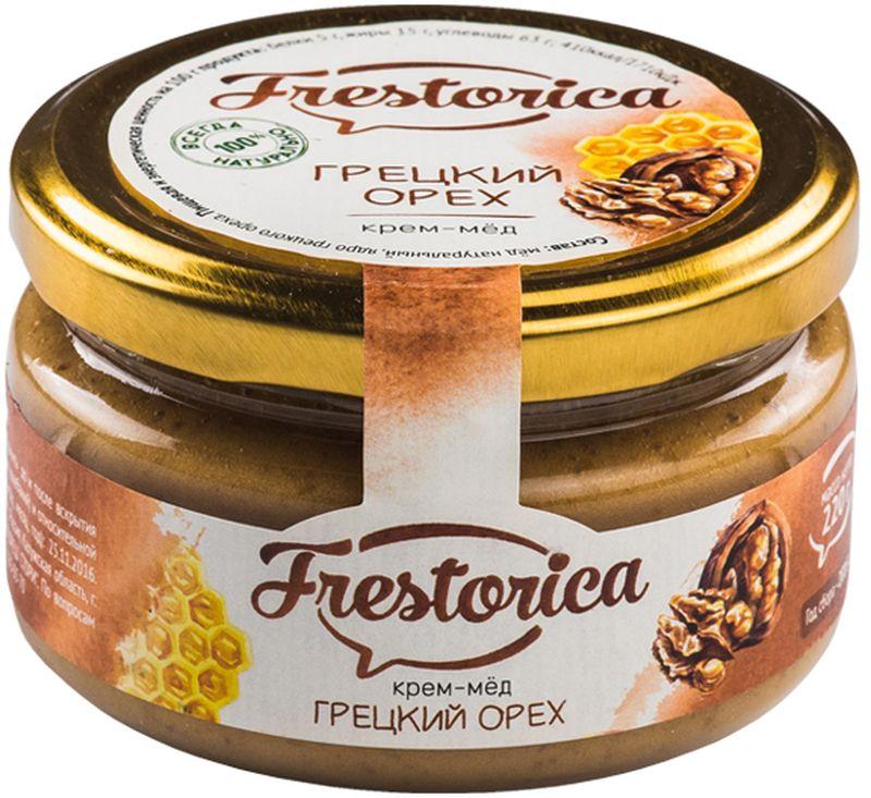 Frestorica крем-мед Грецкий орех, 220 г4665301640193Знаете ли вы, что грецкий орех в три раза питательнее пшеничного хлеба? В древности считалось, что у тех, кто ест эти орехи ежедневно, повышается умственная и физическая активность. Эти орехи также полезны при анемии, благодаря высокому содержанию железа, меди, цинка, кобальта. Добавляя орехи в крем-мед мы получили сытное лакомство с восточной ноткой и прекрасным вкусом, который наверняка понравится вам и вашим детям.