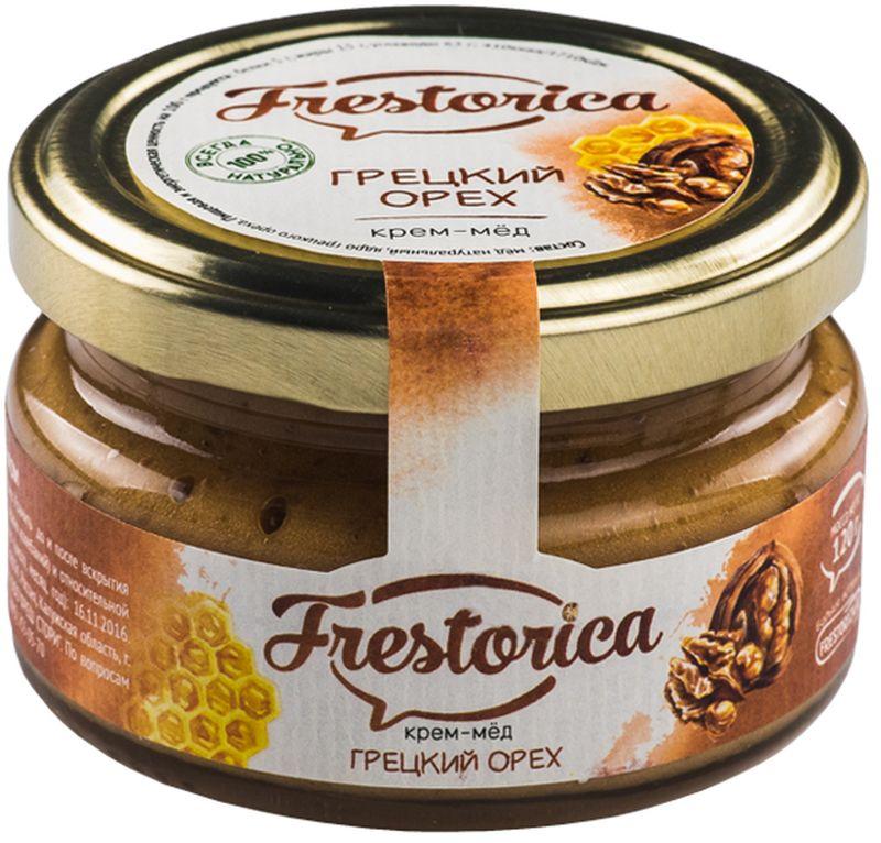 Frestorica крем-мед Грецкий орех, 120 г4665301640292Знаете ли вы, что грецкий орех в три раза питательнее пшеничного хлеба? В древности считалось, что у тех, кто ест эти орехи ежедневно, повышается умственная и физическая активность. Эти орехи также полезны при анемии, благодаря высокому содержанию железа, меди, цинка, кобальта. Добавляя орехи в крем-мед мы получили сытное лакомство с восточной ноткой и прекрасным вкусом, который наверняка понравится вам и вашим детям.