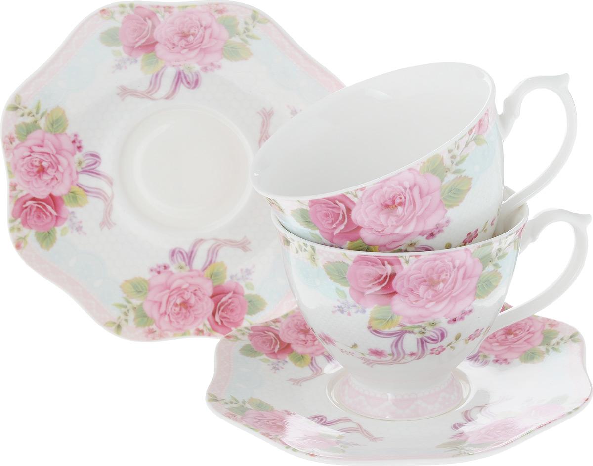 Набор чайный Loraine, 4 предмета. 26621VT-1520(SR)Чайный набор Loraine на 2 персоны выполнен из высококачественного костяного фарфора - материала, безопасного для здоровья и надолго сохраняющего тепло напитка. В наборе 2 чашки и 2 блюдца. Несмотря на свою внешнюю хрупкость, каждый из предметов набора обладает высокой прочностью и надежностью. Изделия дополнены красивым цветочным рисунком. Оригинальный дизайн сделает этот набор изысканным украшением любого стола. Набор упакован в подарочную коробку в форме сердца, поэтому его можно преподнести в качестве оригинального и практичного подарка для родных и близких. Объем чашки: 180 мл. Диаметр чашки (по верхнему краю): 8 см. Высота чашки: 7 см. Диаметр блюдца: 14 см.