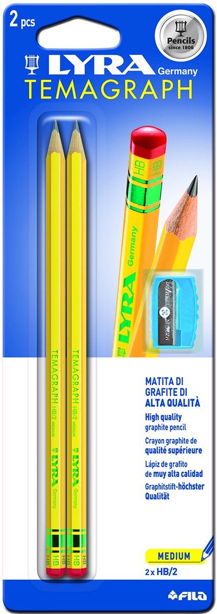 Lyra Набор чернографитных карандашей Temagraph Hb +Temp Bls 2 шт72523WDЧернографитные карандаши в блистере 2 шт с точилкой Мягкость HB