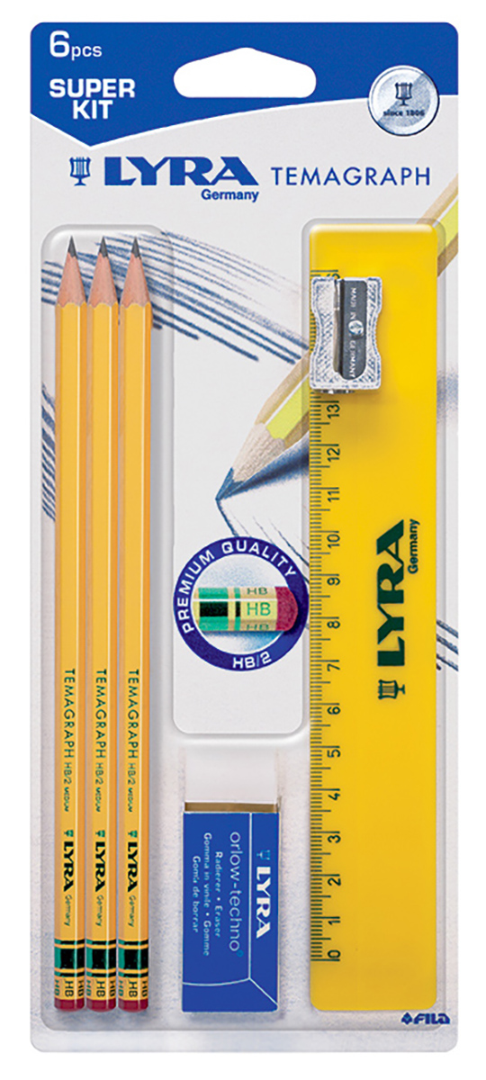 Lyra Набор чернографитных карандашей Temagraph 3 шт012900Набор чернографитных карандашей с ластиком 3 штуки HB, в блистере с металлической точилкой, ластиком и линейкой