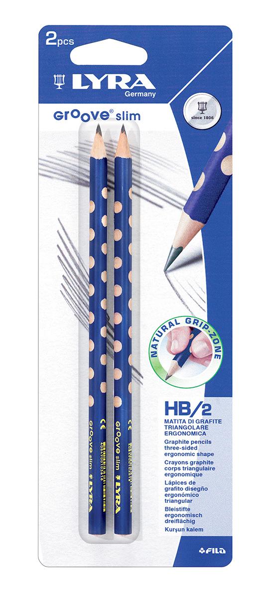 Lyra Набор чернографитных карандашей Groove Slim Graphite 2 штL1768001Чернографитные карандаши Lyra Groove Slim Graphite с эргономичным захватом по всей длине, основа любого начинания. Имеют прочный графитовый стержень, не ломаются и не крошатся, а деревянный корпус легко затачивается. Мягкость HB.