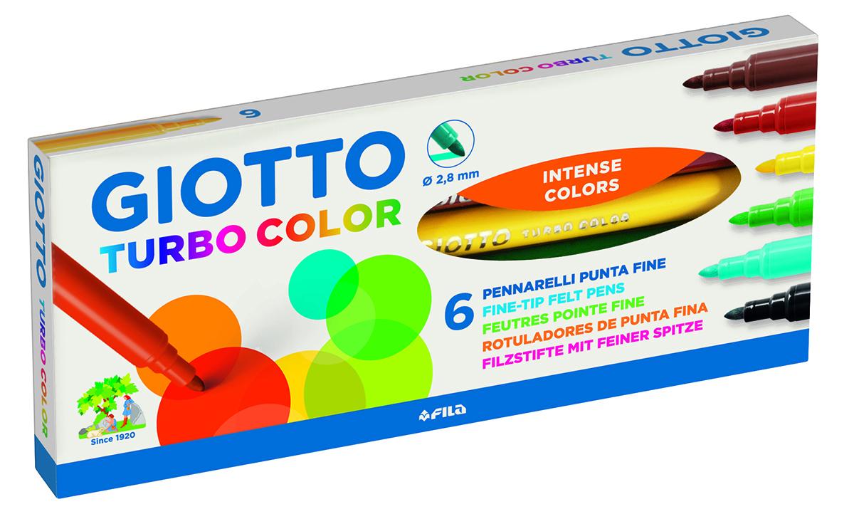 Giotto Набор фломастеров Turbo Color 6 цветовFS-36054Фломастеры на водной основе с натуральными красителями, 6 цветов. Устойчивы к высыханию при открытом колпачке более месяца! Яркие, насыщенные цвета, не выцветают и не выгорают на солнце. Легко отстирываются и смываются с рук. Пишущий фетровый наконечник надежно зафиксирован, не вдавливается и не деформируется даже при сильном нажатии. Вентилируемый колпачок.