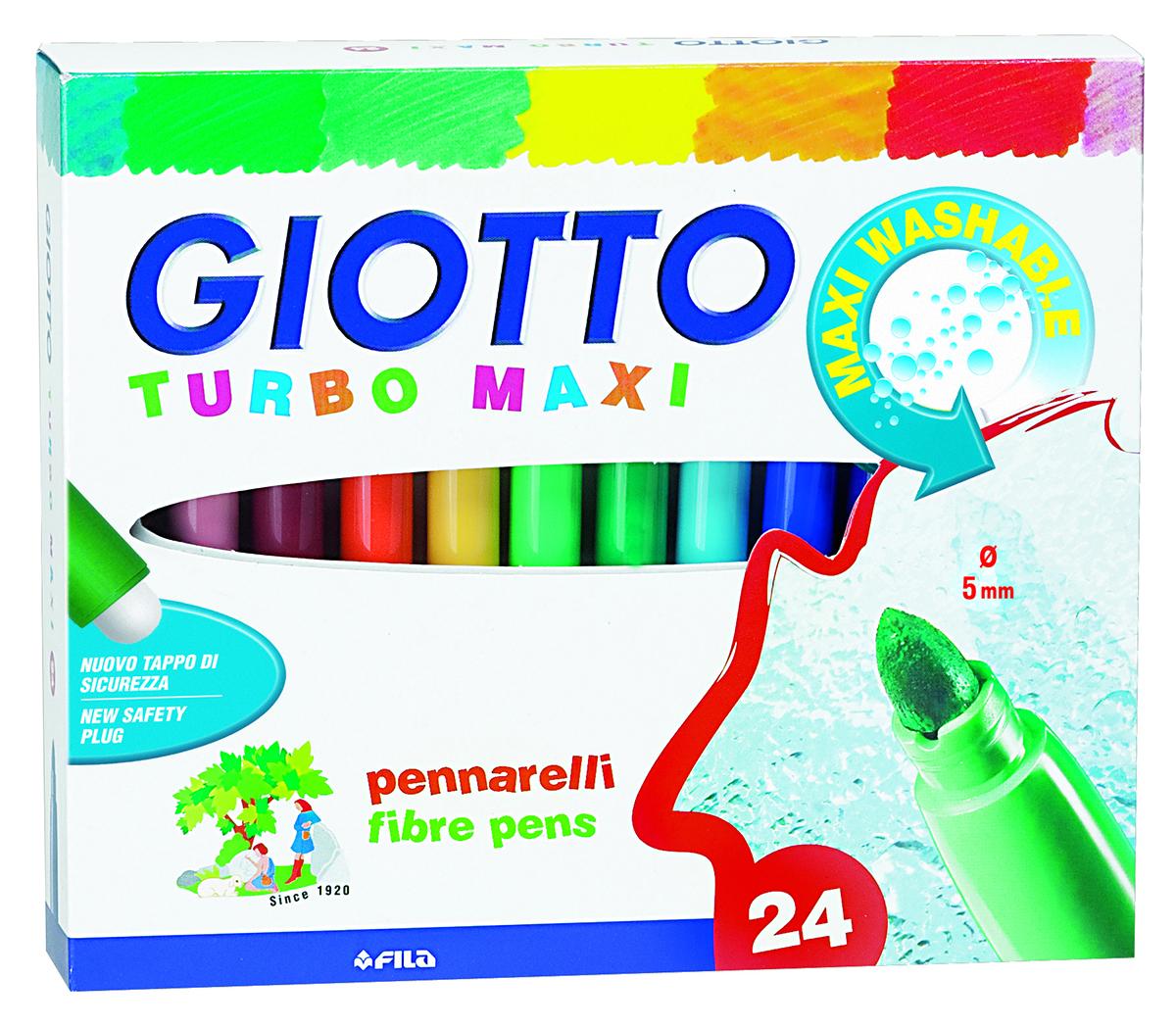 Giotto Набор фломастеров Turbo Maxi утолщенные 24 цвета72523WDФломастеры утолщенные на водной основе с натуральными красителями, 24 цветов. Удобны для малышей. Устойчивы к высыханию при открытом колпачке более месяца! Яркие, насыщенные цвета, не выцветают и не выгорают на солнце. Легко отстирываются и смываются с рук. Пишущий фетровый наконечник надежно зафиксирован, не вдавливается и не деформируется даже при сильном нажатии. Вентилируемый колпачок.