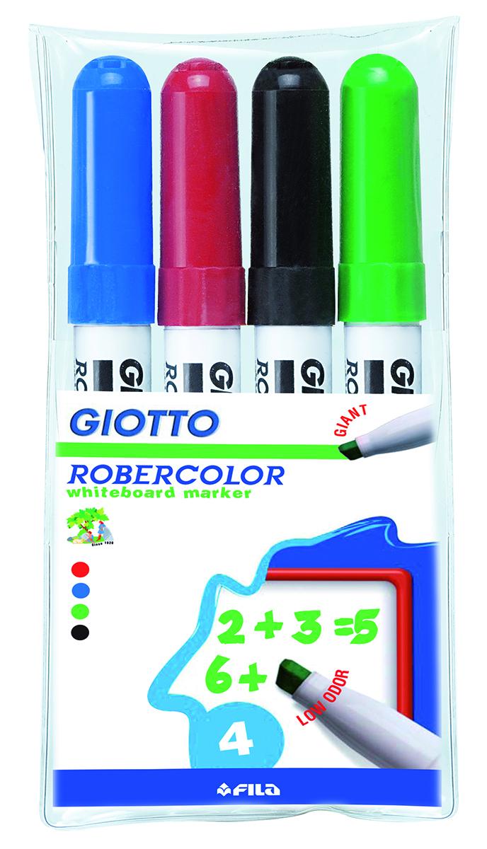 Giotto Набор маркеров для белой доски Robecolor Whiteboard Giant 4 шт413500Набор маркеров для белой доски Giotto Robecolor Whiteboard Giant со скошенным толстым наконечником и быстросохнущими чернилами. Обладают яркими насыщенными цветами. Легко стираются с поверхности доски.