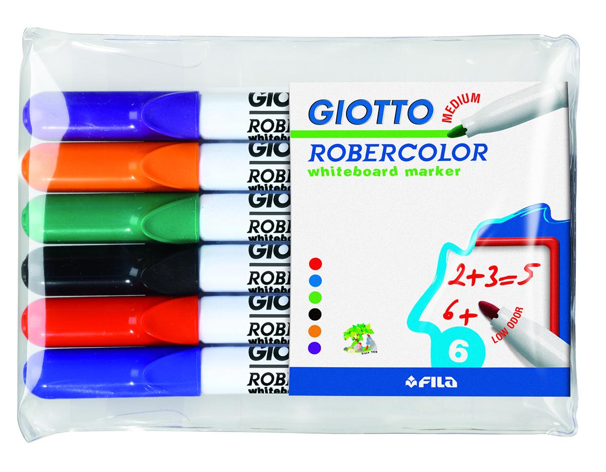 Giotto Набор маркеров для белой доски Robecolor Whiteboard Medium 6 шт72523WDНабор маркеров для белой доски с круглым средним наконечником и быстросохнущими чернилами. Яркие цвета. Легко стираются с поверхности доски. 6шт в блистере.