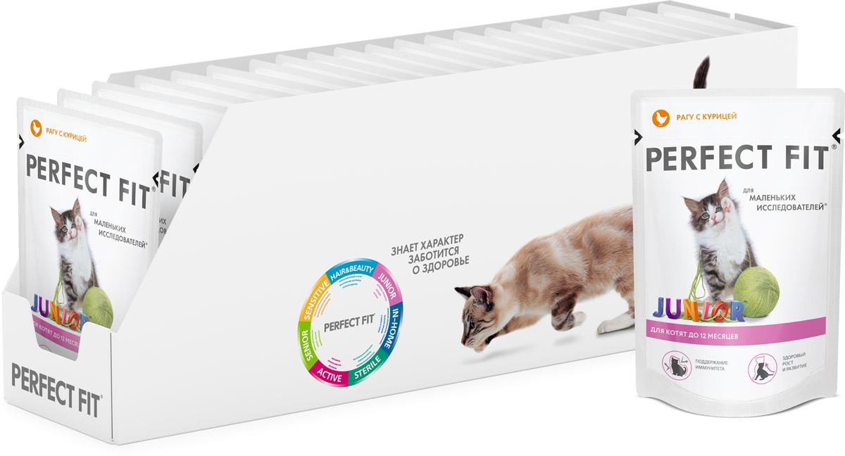 Консервы Perfect Fit Junior для котят до 12 месяцев, рагу с курицей, 85 г х 24 шт41409Консервы Perfect Fit Junior - высококачественный, полноценный сухой корм для котят, разработан в соответствии с потребностями развивающегося организма. Особенности консервов Perfect Fit:- содержит оптимальное соотношение кальция и фосфора, высокий уровень питательных веществ и энергии, необходимые для здорового роста и развития;- содержит витамин Е и цинк, помогающие поддержанию иммунной системы;- не содержит сои, консервантов, ароматизаторов, искусственных красителей, усилителей вкуса. В упаковке 24 пауча по 85 г.Товар сертифицирован.