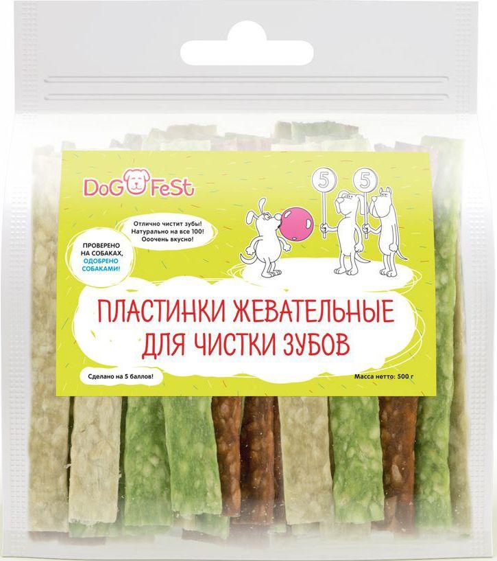 Лакомство для собак Dog Fest Пластинкижевательные для чистки зубов, 500 г0120710Пластинкижевательные для чистки зубов