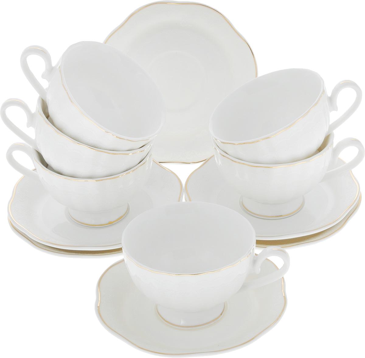 Сервиз кофейный Loraine, 12 предметов. 26442115510Кофейный сервиз Loraine на 6 персон выполнен из высококачественного костяного фарфора - материала, безопасного для здоровья и надолго сохраняющего тепло напитка. В наборе 6 чашек и 6 блюдец. Несмотря на свою внешнюю хрупкость, каждый из предметов набора обладает высокой прочностью и надежностью. Изделия украшены тонкой золотой каймой, внешние стенки дополнены рельефным цветочным рисунком. Элегантный классический дизайн сделает этот набор изысканным украшением любого стола. Набор упакован в подарочную коробку, поэтому его можно преподнести в качестве оригинального и практичного подарка для родных и близких. Объем чашки: 110 мл. Диаметр чашки (по верхнему краю): 7,5 см. Высота чашки: 5 см. Диаметр блюдца: 11,5 см.