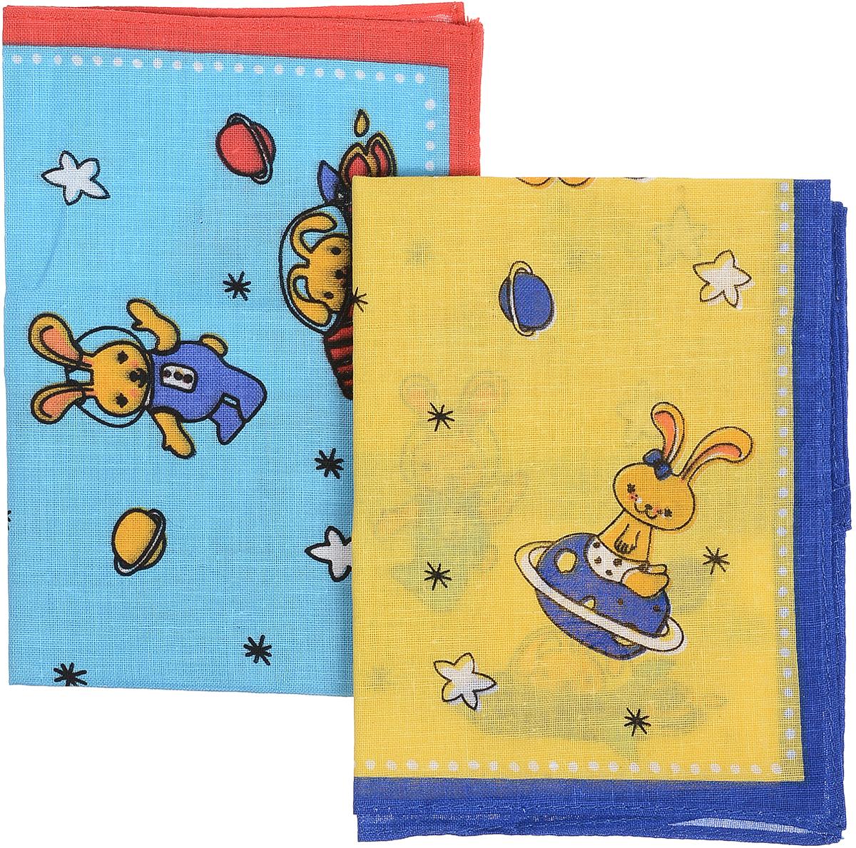 Платок носовой детский Zlata Korunka, цвет: голубой,желтый, 4 шт. 71406. Размер 27 х 27 см39864 Серьги с подвескамиПлаток носовой детский Zlata Korunka, цвет: голубой,желтый, 4 шт. 71406. Размер 27 х 27 см