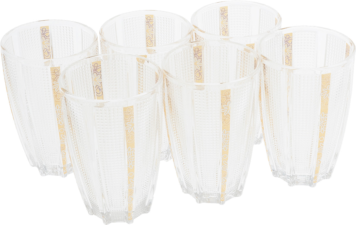 Набор стаканов Loraine, 300 мл, 6 шт. 2469124691Набор стаканов состоит из шести стаканов, выполненных из прочногостекла. Внешние стенки изделий украшены изящным рельефом. Такие стаканы прекрасно подойдут для подачи лимонада, сока, воды и других напитков.Объем стакана: 300 мл.
