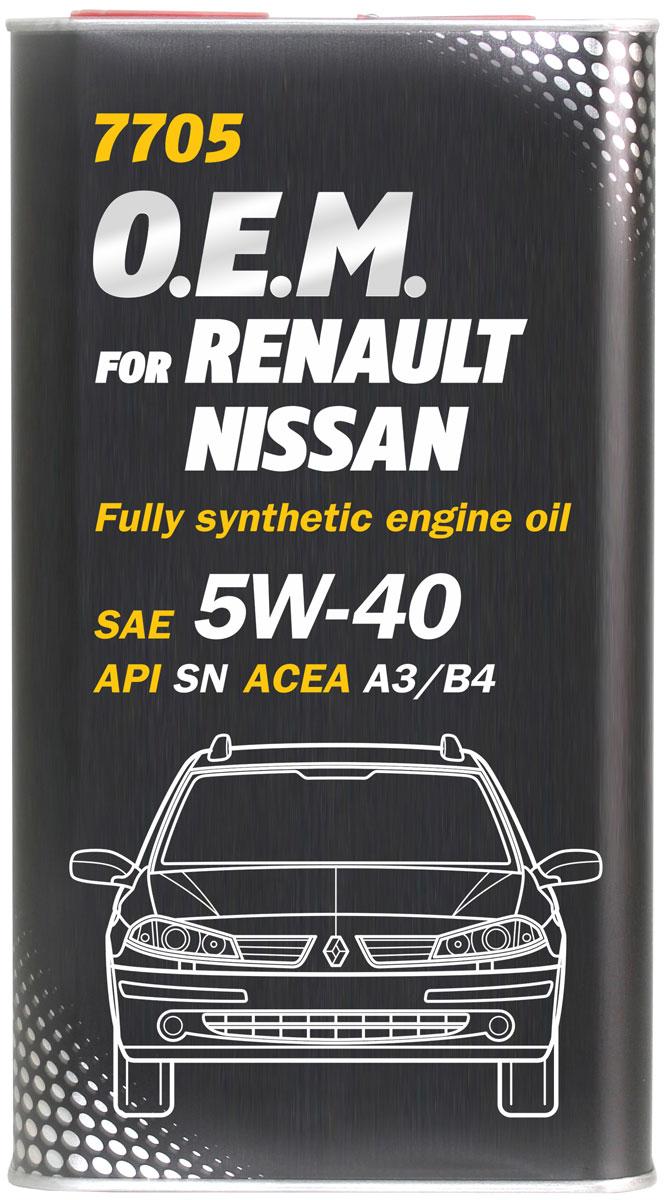 Моторное масло MANNOL 7705 O.E.M., для Renault и Nissan, класс вязкости 5W-40, синтетическое, 1 л4051Моторное масло MANNOL 7705 O.E.M. - синтетическое моторное масло нового поколения, предназначенное для двигателей легковых автомобилей RENAULT и NISSAN. Разработано специально для бензиновых и дизельных двигателей (без DPF) с системами непосредственного впрыска, с турбонаддувом или без него. Обладает высокими антиокислительными свойствами и превосходными моюще-диспергирующими характеристиками, что предупреждает образование отложений на деталях двигателя. Обеспечивает легкий пуск двигателя при низких температурах. Применимо при любых условиях эксплуатации (езда по городу, автостраде и автомагистрали), в том числе и в экстремальных условиях. Создано специально для выполнения требований производителей двигателей Renault/Nissan/Infinity по увеличению интервалов замены масла. Продукт имеет допуски / соответствует спецификациям / продуктам:SAE 5W-40API SNACEA A3/B4MB 229.3PORSCHE A40VW 502.00/505.00OPEL GM-LL-A/B-025RENAULT RN 0700/0710NISSAN/INFINITI