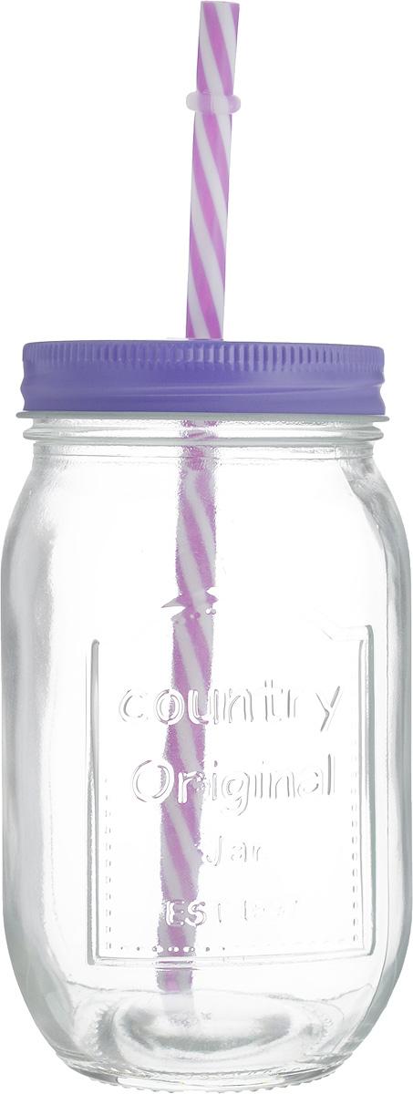 Емкость для напитков Zeller, с трубочкой, цвет: сиреневый, 480 мл1193706_салатовые цветыЕмкость для напитков Zeller выполнена из высококачественного стекла. Изделие снабжено металлической крышкой с отверстием для трубочки. Эта емкость станет идеальным вариантом для подачи лимонадов, ароматных свежевыжатых соков и вкусных смузи. Диаметр (по верхнему краю): 6,5 см.Высота емкости (без учета трубочки): 14,5 см.Длина трубочки: 20 см.