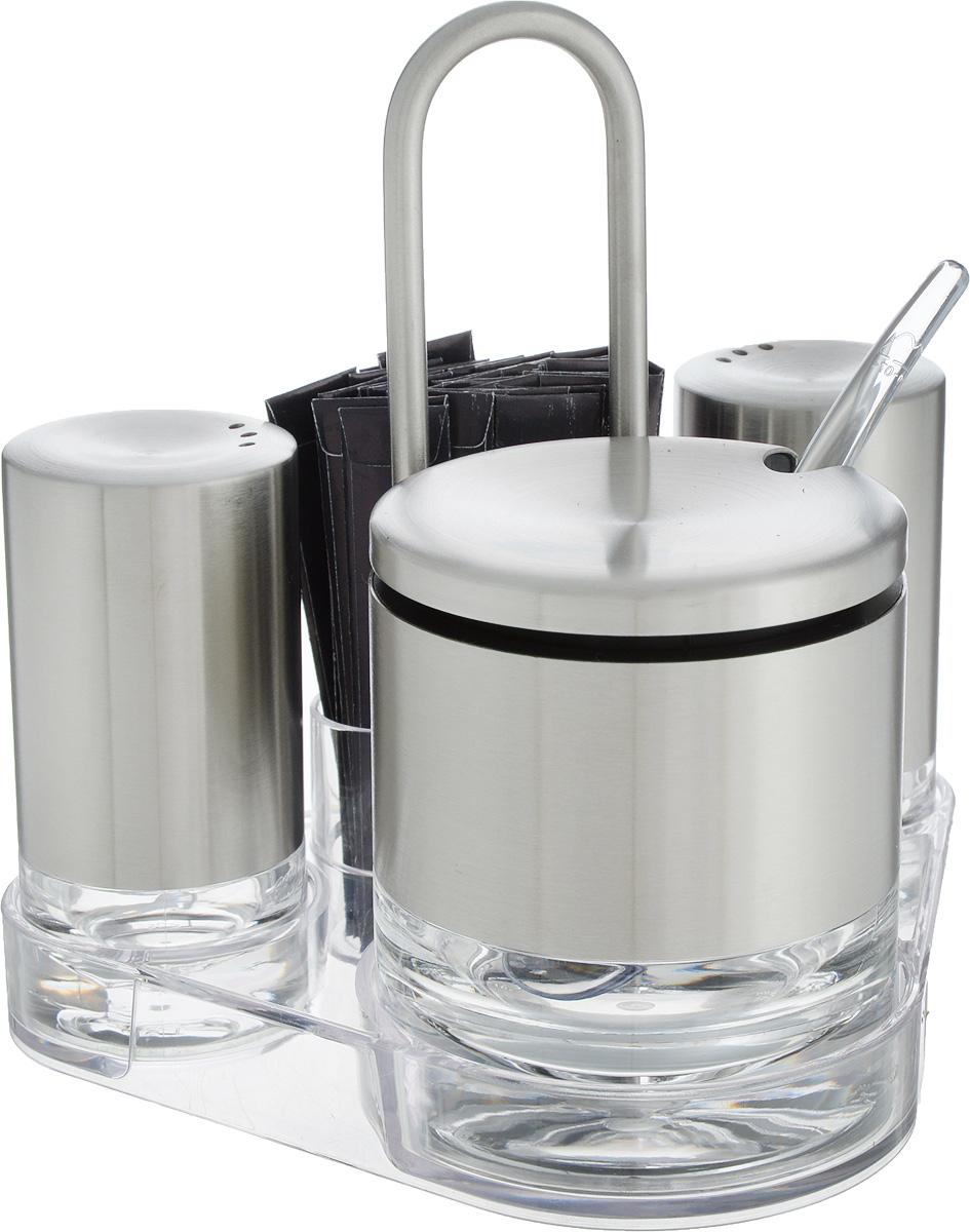Набор для специй Emsa Accenta, на подставке, 5 предметовVT-1520(SR)Великолепный набор Emsa Accenta состоит из сахарницы, ложки, перечницы, солонки и подставки, изготовленных из нержавеющей стали, стекла и пластика.Емкости для специй легки в использовании: стоит только перевернуть емкости, и вы с легкостью сможете поперчить или добавить соль по вкусу в любое блюдо. Сахарница оснащена удобной, плотно закрывающейся крышкой.Набор Emsa Accenta станетукрашением вашего стола, а благодаря своим небольшим размерам набор не займет много места на вашей кухне.Также в комплект входят 35 деревянных зубочисток в индивидуальных упаковках.Размер подставки: 11 х 14,5 х 15 см. Размер солонки и перечницы: 4 х 4 х 8 см.Диаметр сахарницы (по верхнему краю): 7 см. Высота сахарницы (с учетом крышки): 8 см.Длина ложечки: 12 см.
