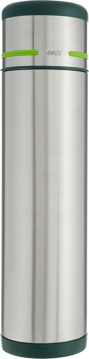 Термос Emsa Mobility, цвет: зеленый, стальной, 1 л115610Простая и гармоничная форма термоса Emsa Mobility, выполненного из стали, удовлетворит желания любого потребителя. Термос оснащен герметичным клапаном и крышкой, которую можно использовать в качестве стакана, а благодаря системе высококачественной вакуумной изоляции он сохранит ваши напитки горячими или холодными надолго. Диаметр горлышка термоса: 5 см.Диаметр дна термоса: 8 см.Высота термоса (с учетом крышки): 32 см.Сохранение холодной температуры: 24 ч.Сохранение горячей температуры: 12 ч.