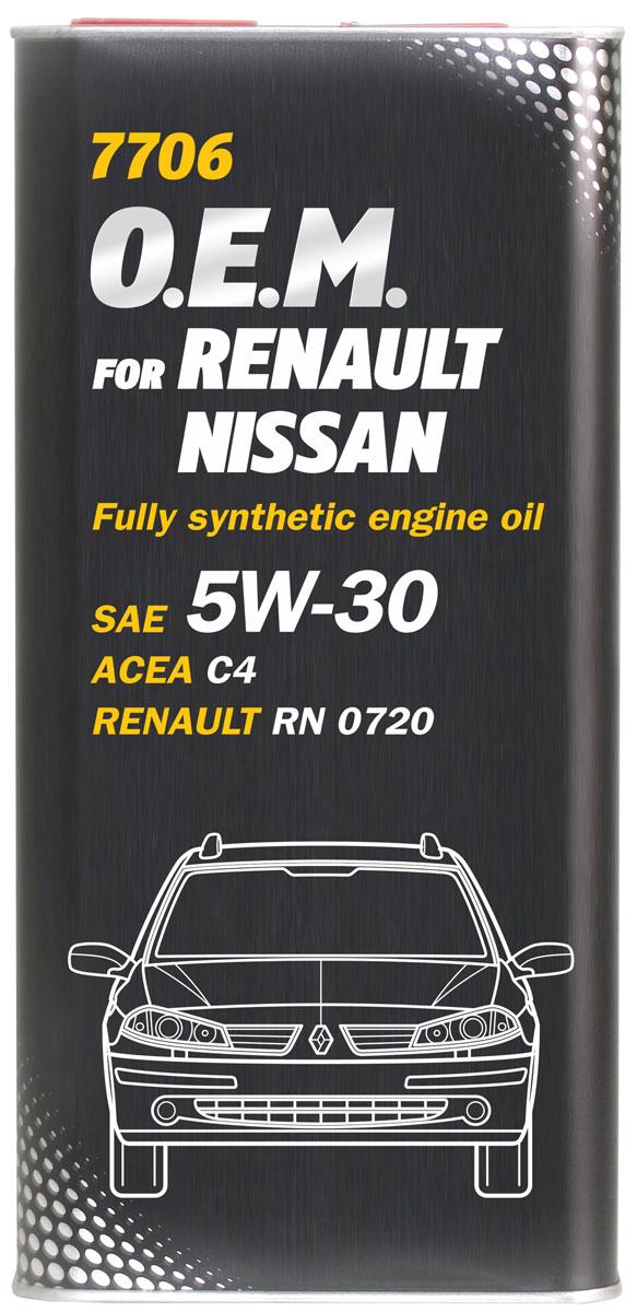 Моторное масло MANNOL 7706 O.E.M., для Renault и Nissan, 5W-30, синтетическое, 1 лS03301004Синтетическое моторное масло MANNOL 7706 O.E.M. предназначено для использования в современных бензиновых и дизельных двигателях, оборудованных сажевыми фильтрами (DPF), для которых производитель рекомендует применение масел типа ACEA C4. Продукт имеет допуски / соответствует спецификациям / продуктам:SAE 5W-30ACEA C4RENAULT RN 0720MB 226.51/229.51