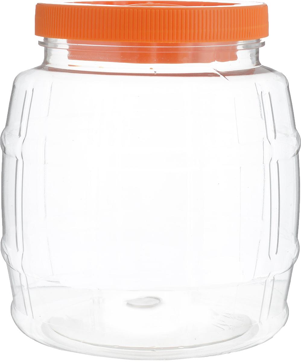 Емкость для сыпучих продуктов Альтернатива Бочонок, цвет: оранжевый, прозрачный, 2 л21395599Емкость Альтернатива Бочонок изготовлена из качественного пластика и оснащена пластиковой закручивающейся крышкой. Изделие выполнено в форме бочонка с прозрачными стенками, что позволяет видеть содержимое. В такой удобной емкости можно хранить макароны, крупы, сахар, соль и многое другое. Крышка дополнена небольшой пластиковой ручкой. Высота емкости: 16 см. Диаметр по верхнему краю: 10,5 см. Диаметр дна: 11,5 см.