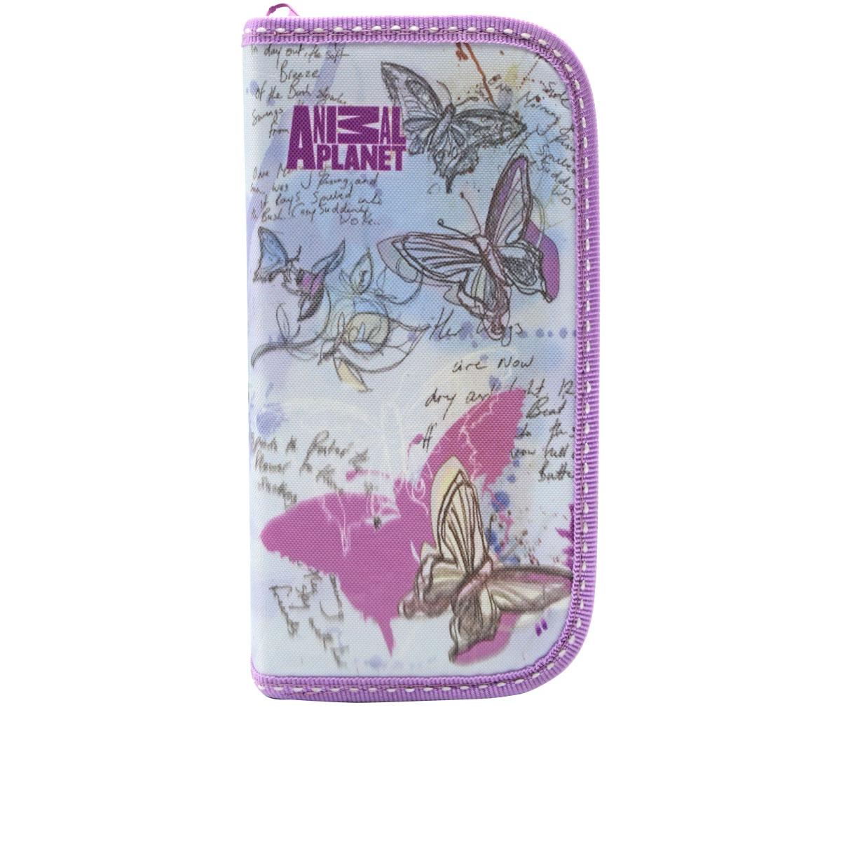 Action! Пенал Animal Planet цвет серый фиолетовый72523WDМатериал - полиэстер. 2 отделения на молнии. Без наполнения. Размер 20 х 13 см.
